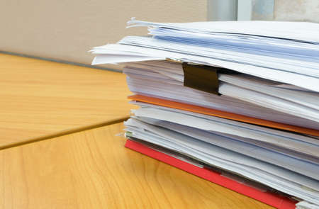 stack of documents: pile of documents on the office desk Stock Photo