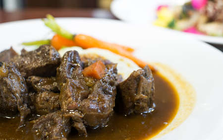 irish easter: Beef Stew with red wine, carrots and potatoes Stock Photo