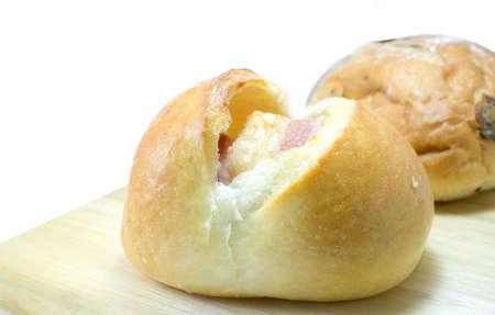 bap: Bacon filled bread roll, bap or bun,isolated