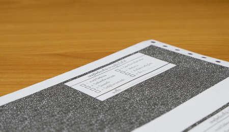 deposit slip: pay in slip closeup