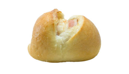 bap: Bacon filled bread roll bap or bunisolated