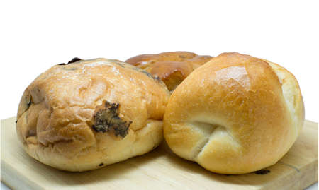 filled roll: chocolate bread, Bacon filled bread roll, isolated Stock Photo