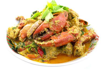 cangrejo: Cangrejo frito revuelto con polvo de curry Foto de archivo