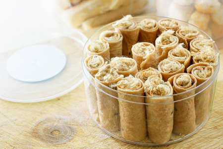 tong: Tong Muan,rolled wafer, a traditional dessert in Thailand