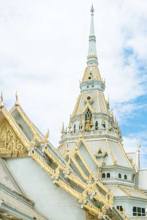 apex: roof style of thai temple with gable apex on the top and blue sky