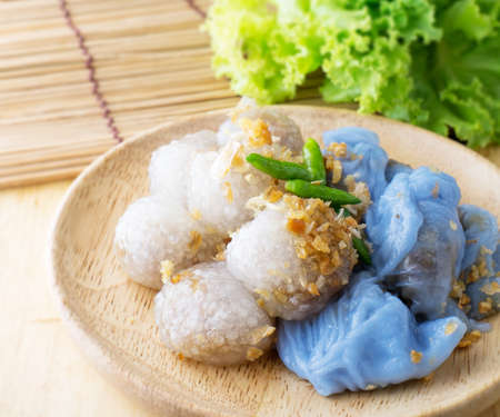 thai dessert: Tapioca balls with pork filling serve with vegetable