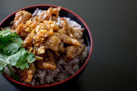 plato del buen comer: stir fried pork garlic with rice on black bowl