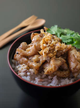 plato del buen comer: stir fried pork garlic with rice on black bowl