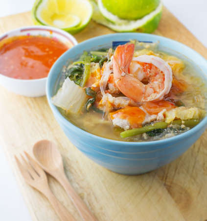 one of a kind: seafood suki, one of kind soup noodle in asia Stock Photo