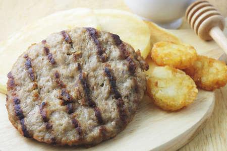 hashbrown: breakfast meal, pancake, pork burger, hashbrown and coffee