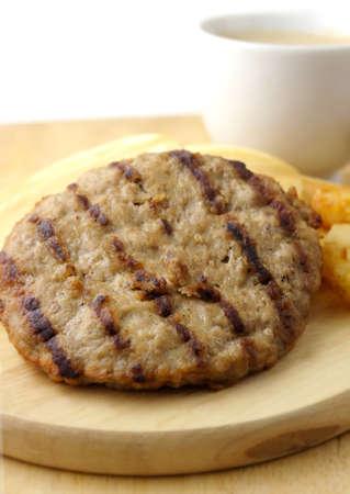 hashbrown: breakfast meal, pork burger, pancake,  hashbrown and coffee