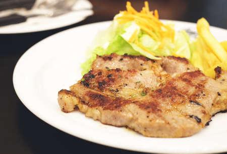 pork steak, vintage effect