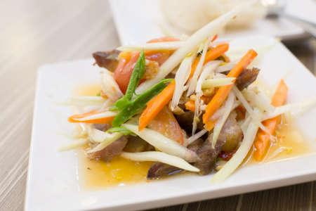 green papaya salad: Thai spicy salad Stock Photo