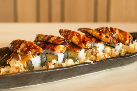 japan sushi on top with unagi and foie gras
