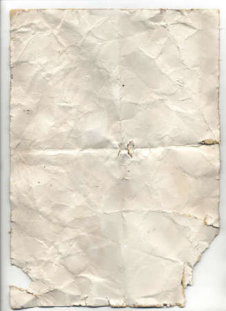 Old grunge wrinkled paper with folds and stains