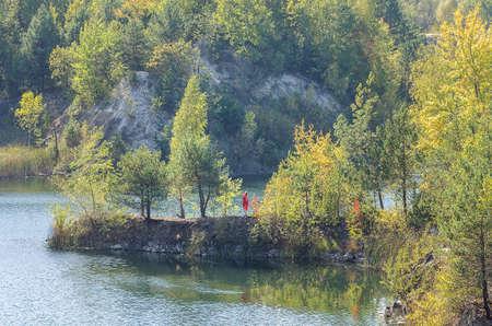 Autumn island. Basalt. Ukraine. The old quarry. Reserve. Archivio Fotografico