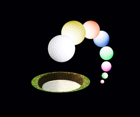 Sequence of images of balls of golf on black background