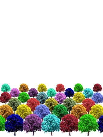 colorful trees arranged in rows on white background