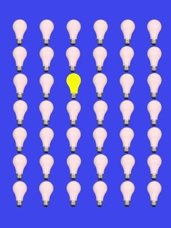 yellow light bulb among white light bulbs, on blue background.