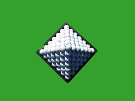 Pyramid of golf balls on green background.