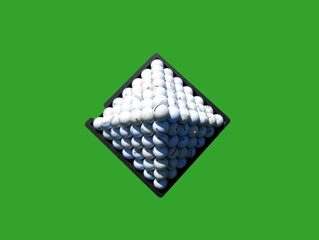 Pyramid of golf balls on green background.