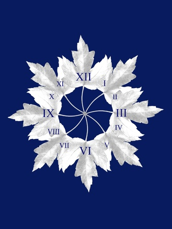 Leaves arranged in circle in a way of clock, on blue background..