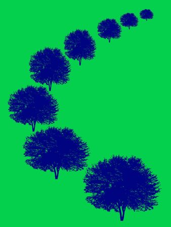 Silhouettes of blue trees in perspective on green background Stock Photo