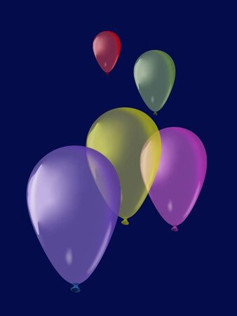 Colorful balloons flyng on dark blue background