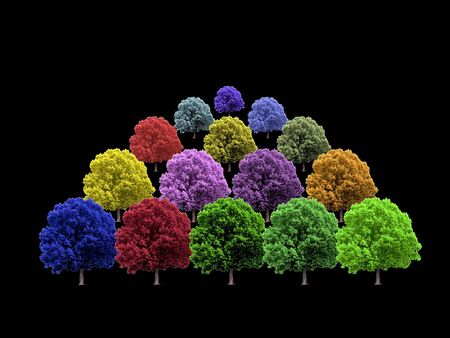 Rows of colorful trees on black background Stock Photo