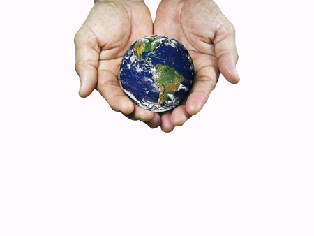 The world on the hands on white background. Stock Photo