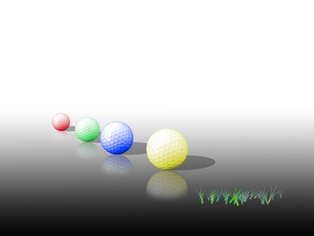 Four colorful golf balls on a glossy surface on clear background  Stock Photo