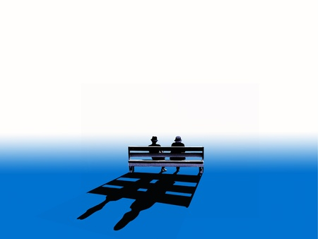 Couple sitting on a bench look at a white horizont. Stock Photo