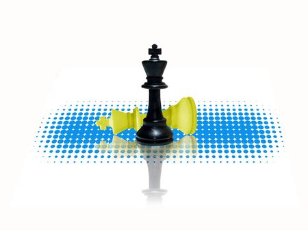 Black king after check mate next to the beaten king on clear background.