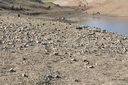 perk: Water Shortage in lake bed Stock Photo