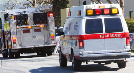 emergency medical response team and ambulance