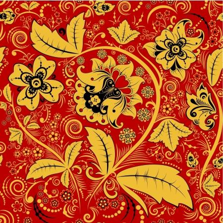 hohloma: Hohloma floral pattern Illustration