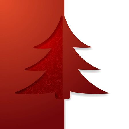 decorative card symbols: Christmas card with a carved Christmas tree Illustration