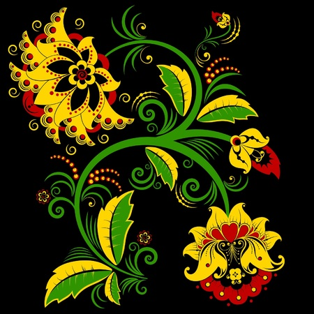 Abstract flower in traditional Russian style Vector