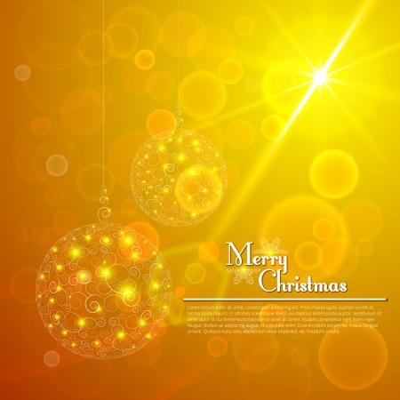 Christmas balls with bokeh background Vector