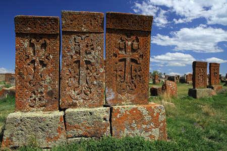 Khachkars in Noratus cemetery, Armenia
