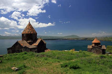 monastic: Sevanavank, a monastic complex located on the peninsula of Lake Sevan, Armenia