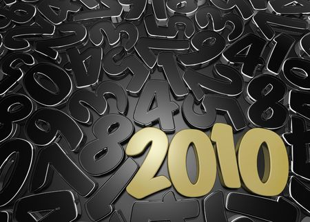New Year's date among scattered figures. Stock Photo - 5940067