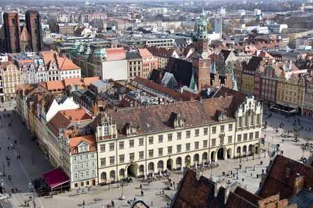 crowded space: Market Square in Wroclaw, Poland