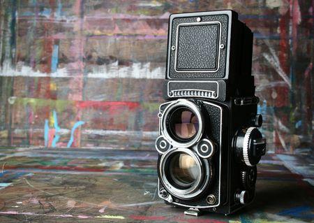 viewfinder vintage: old vintage camera in artists studio