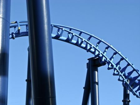 robust: steel roller coaster construction close-up