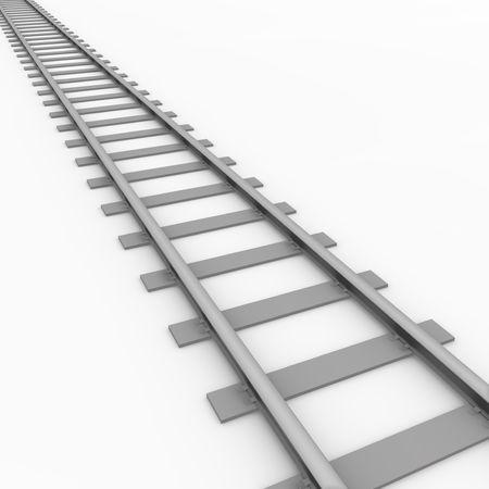 straight path: Rail track Stock Photo