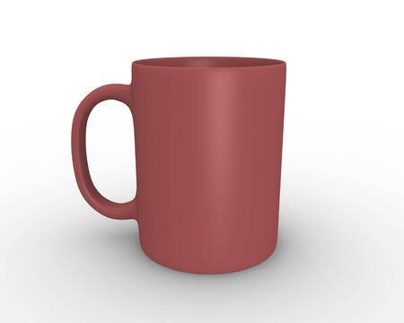 chinaware: 3D rendered illustration of red teacoffee mug