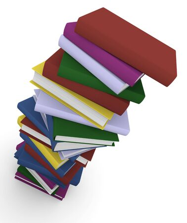 bibliophile: Stack of colorful books. 3D rendered image. Stock Photo