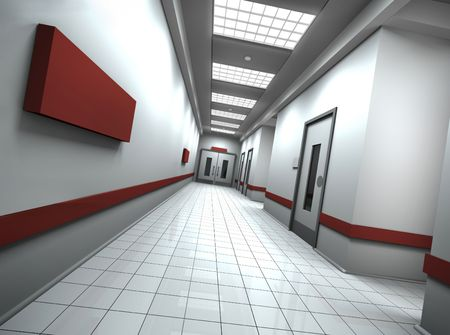 Hospitaloffice corridor with empty sign on the wall. 3D rendered image. photo