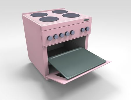 metal doors: pink kitchen stove with open oven